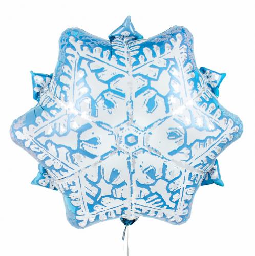 Фольгированная фигура снежинка голубая фото в интернет-магазине Шарики 24