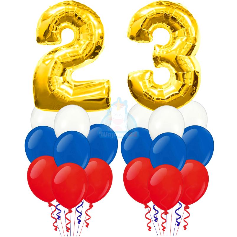 Композиция с цифрами 2 и 3 и шарами триколор