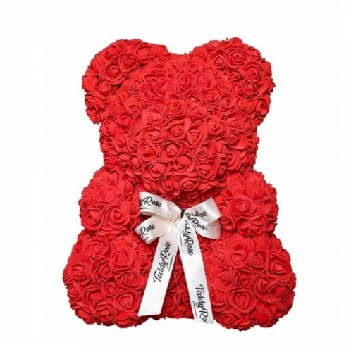 НОВИНКА! Мишка из роз 25 см. (красный, розовый) фото в интернет-магазине Шарики 24