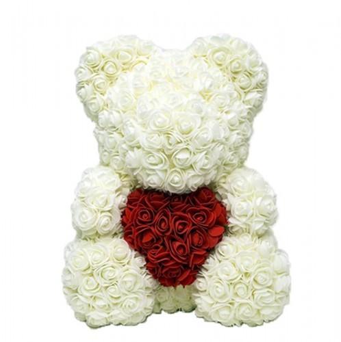 НОВИНКА! Мишка с сердцем из роз 40 см. (красный, розовый и белый) фото в интернет-магазине Шарики 24