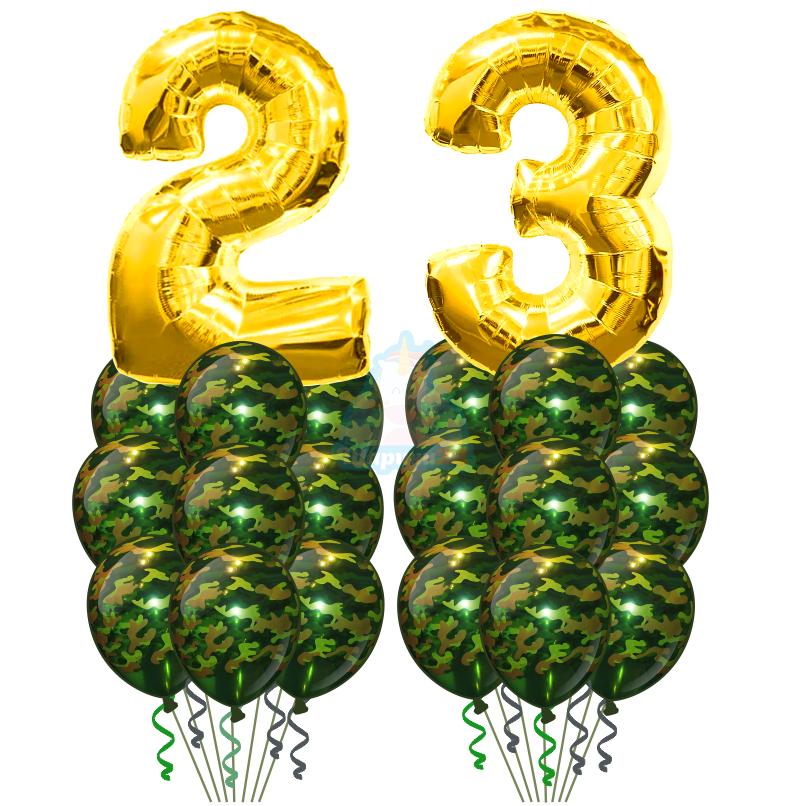 Композиция с цифрами 2 и 3 и шарами хаки