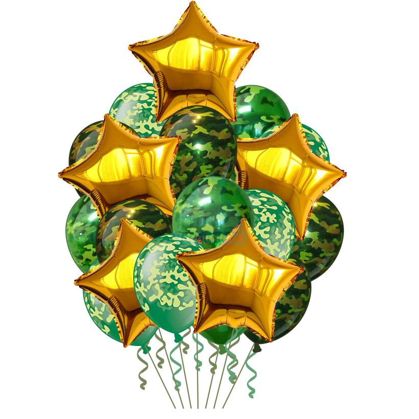 Камуфляжные шары с золотыми звездами на 23 февраля
