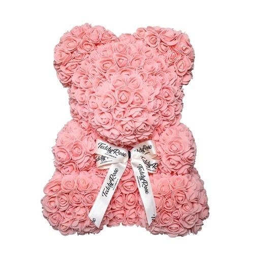 НОВИНКА! Мишка из роз 25 см. (красный, розовый и белый) фото в интернет-магазине Шарики 24