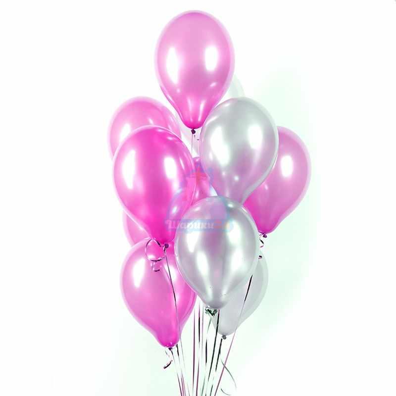 Облако розовых и серебряных шариков металлик