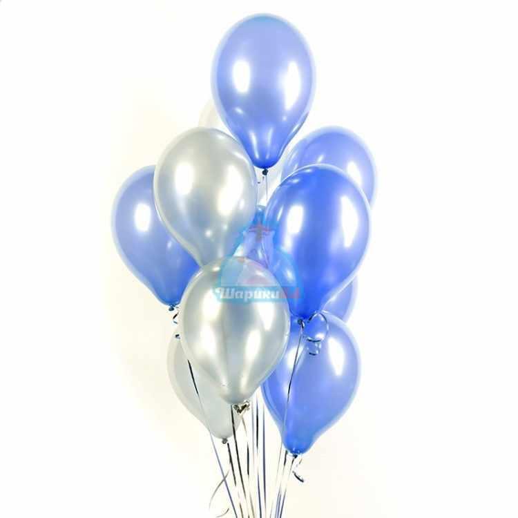 Облако синих и серебряных шариков металлик - 25 шт