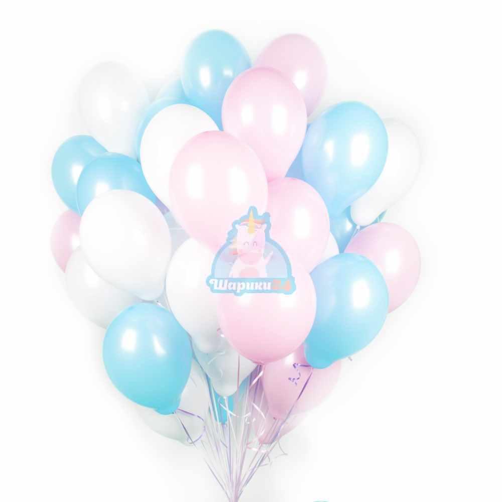 Облако белых, розовых и голубых шаров - 30 шт