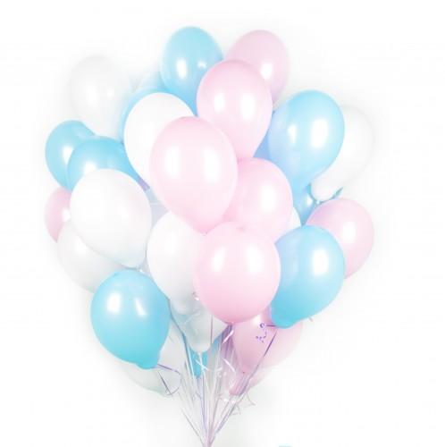 Букет белых, розовых и голубых шаров фото в интернет-магазине Шарики 24