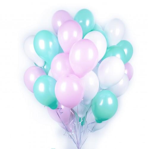 Букет белых, розовых и мятных шаров фото в интернет-магазине Шарики 24