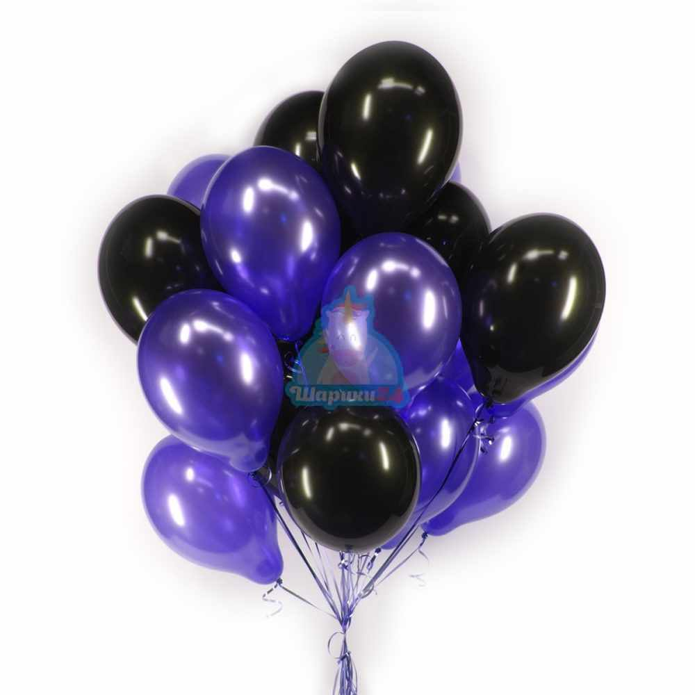 Облако черных и фиолетовых шариков металлик - 25 шт