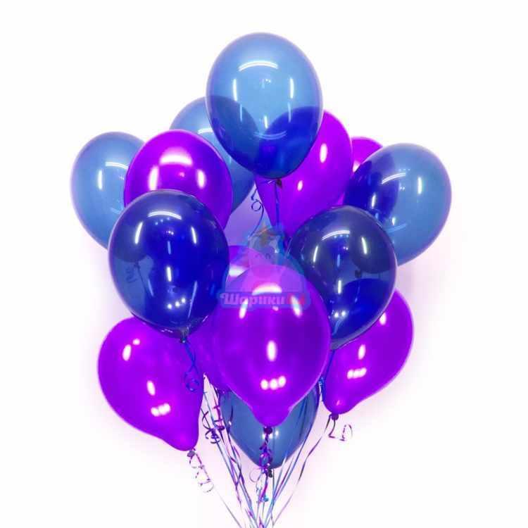 Облако из фиолетовых шариков металлик и синих шариков кристалл