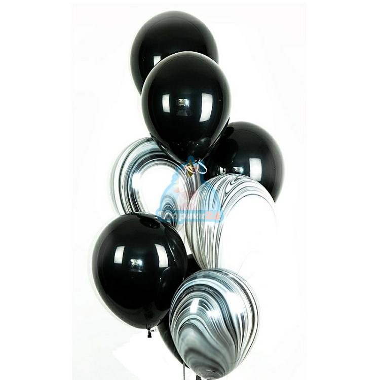 Облако из черных шаров и черных агатов - 20 шт