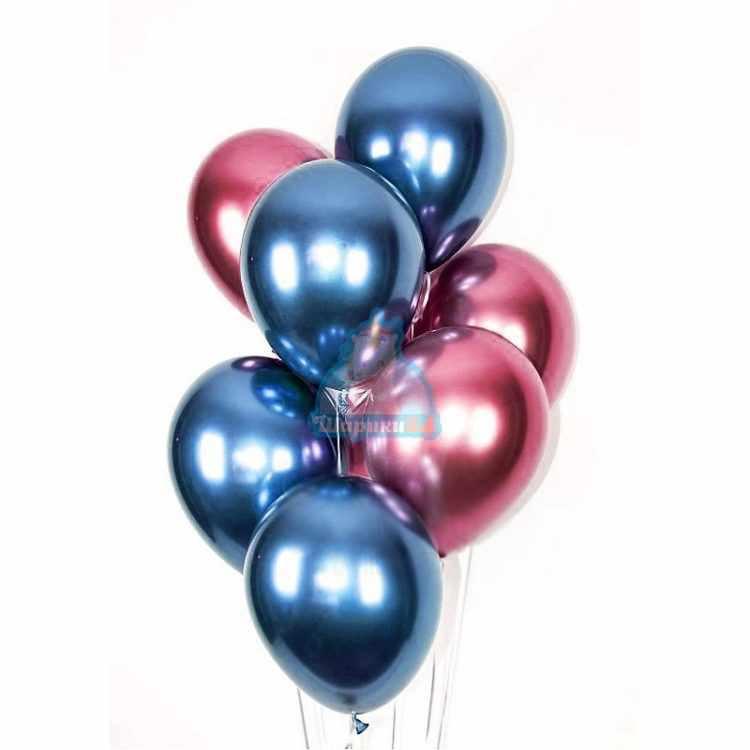 Облако синих и розовых хромированных шариков - 20 шт