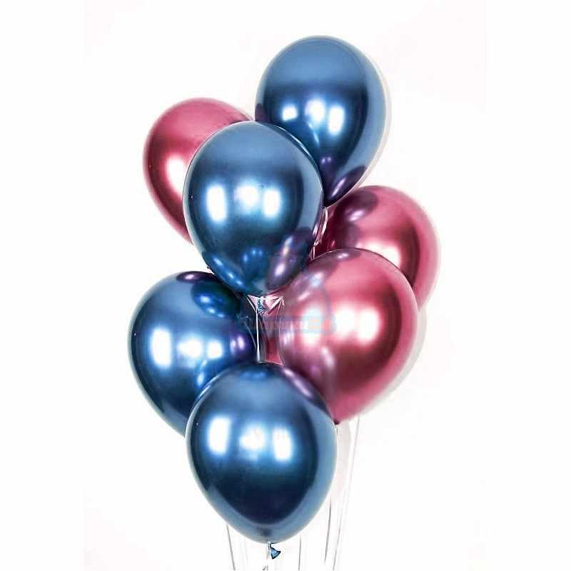 Облако синих и розовых хромированных шариков