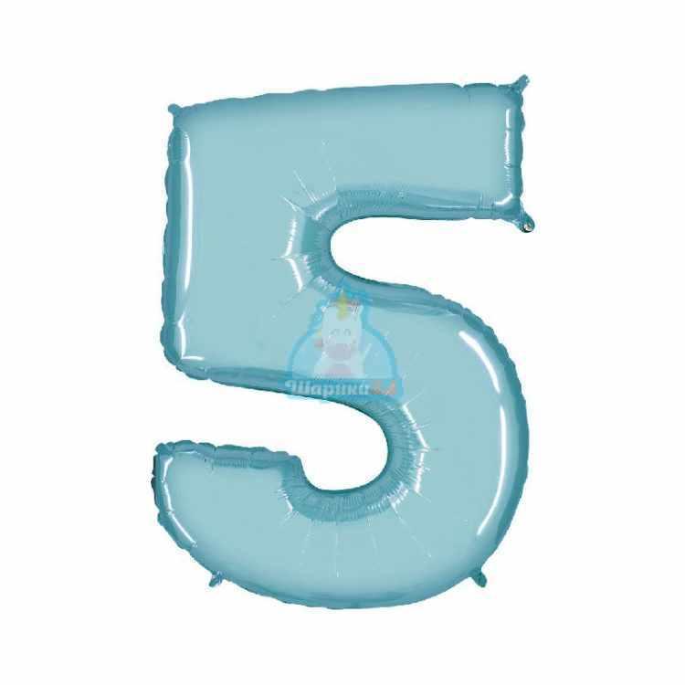Фольгированная цифра 1 голубая