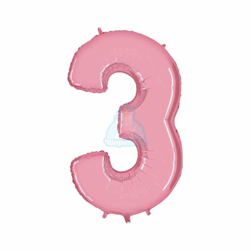 Фольгированная цифра 1 розовая