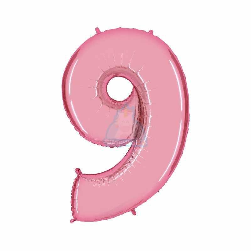 Шар цифра 1 розовая