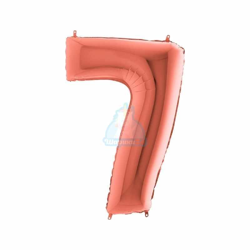 Шар цифра 1 розовое золото