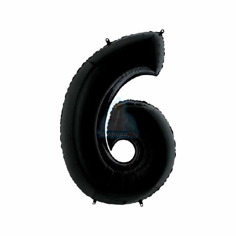 Фольгированная цифра 1 черная