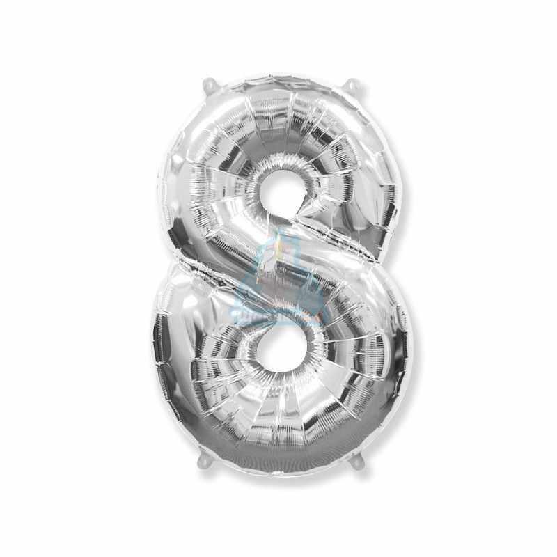 Шар цифра 1 серебряная