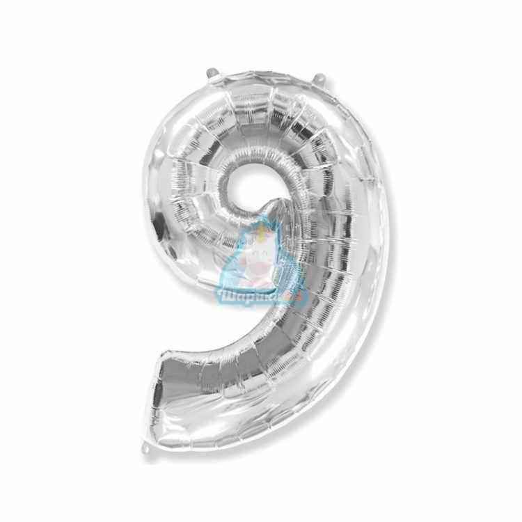 Фольгированная цифра 1 серебряная