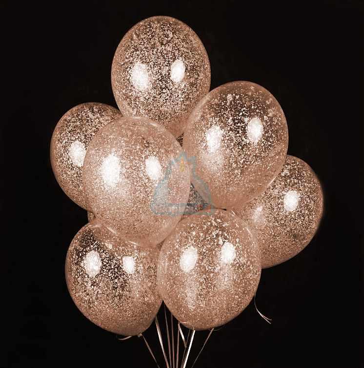 Облако прозрачных шаров с блестками розовое золото