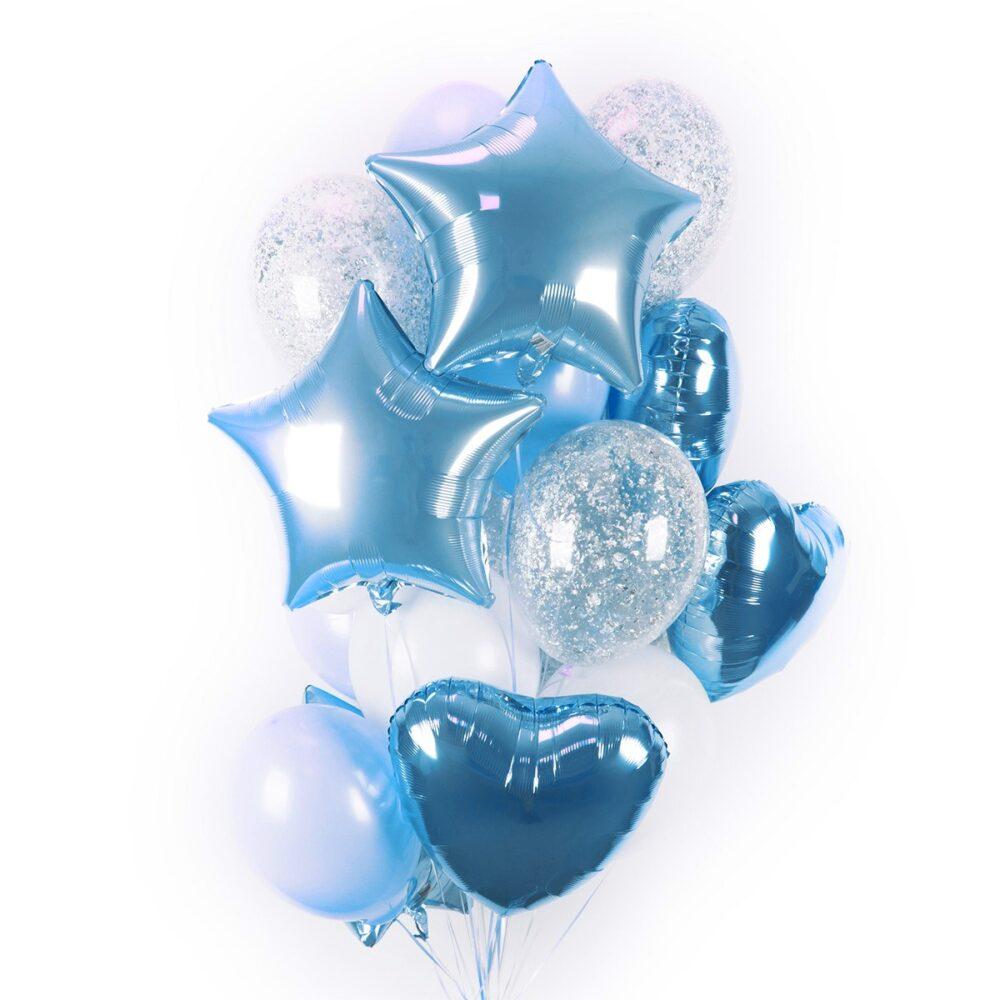 Композиция из бело-голубых и прозрачных шаров с серебряными блестками, сердцами и звездами