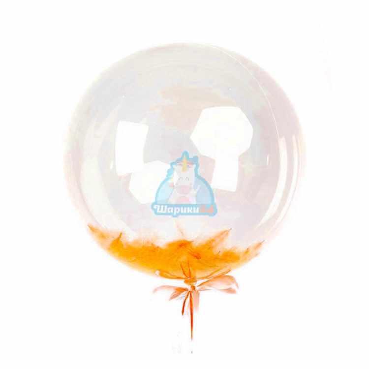 Кристальный шар Bubbles с оранжевыми перьями