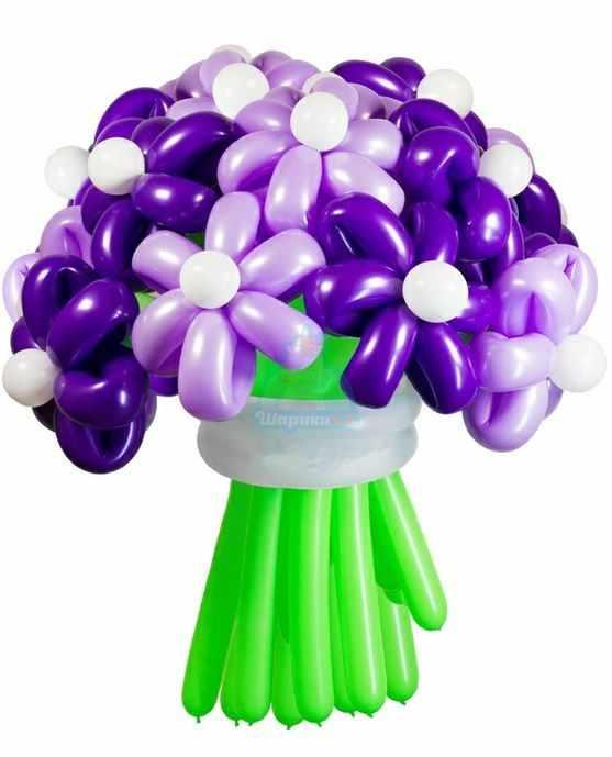 Букет цветов из шаров Ромашки фиолетовые