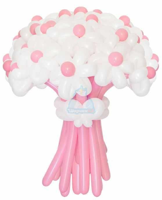 Букет цветов из шаров Ромашки розовые