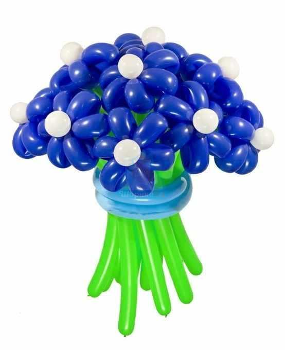 Букет цветов из шаров Ромашки синие