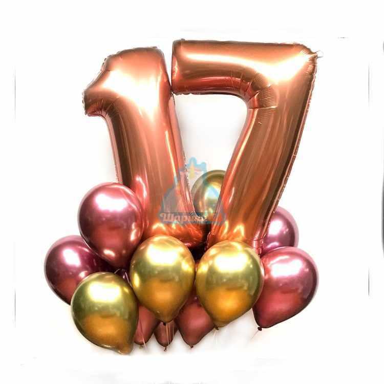 Композиция из хромированных шаров с цифрами розовое золото