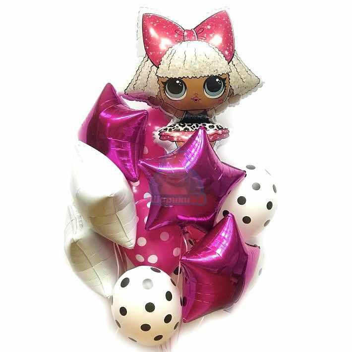 Композиция из бело-розовых шариков с куклой LOL