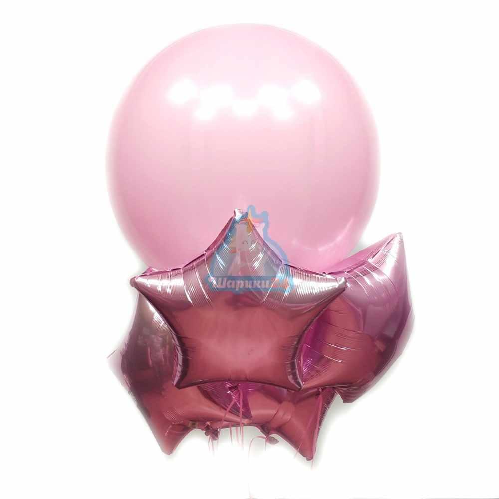 Композиция с большим розовым шаром и розовыми звездами