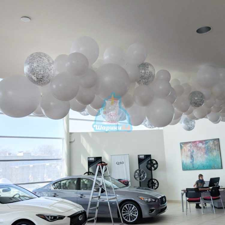 Облако из разноразмерных шаров под потолок 1 кв.м