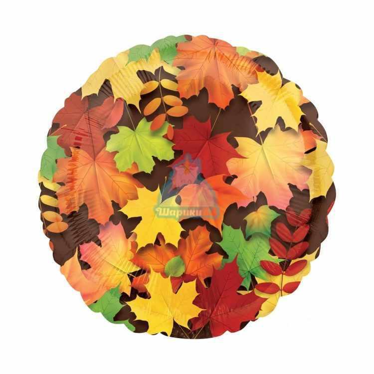Фольгированный круглый шар кленовые листья