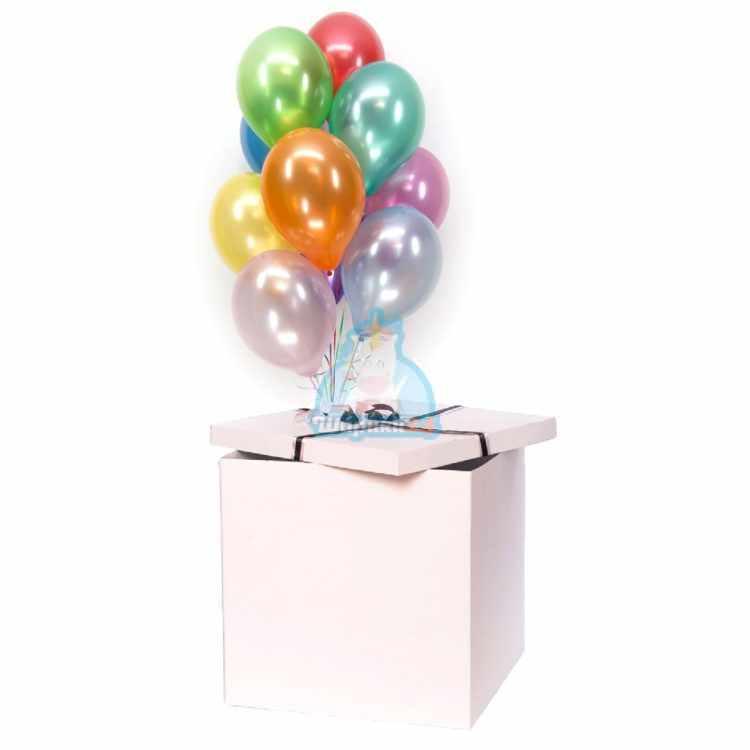 Разноцветные шарики металлик в белой коробке