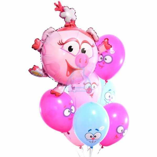 Композиция из воздушных шаров смешарики с Нюшей