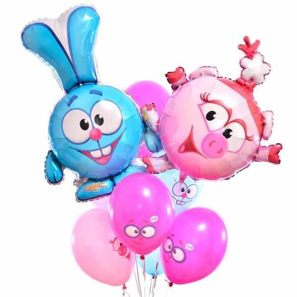 Композиция из воздушных шаров смешарики с Крошем и Нюшей