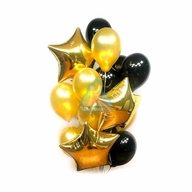 Композиция из воздушных шаров черных и золотых со звездами