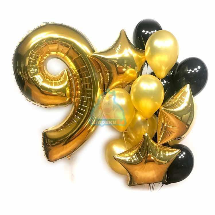 Композиция на День рождения с золотой цифрой и звездами