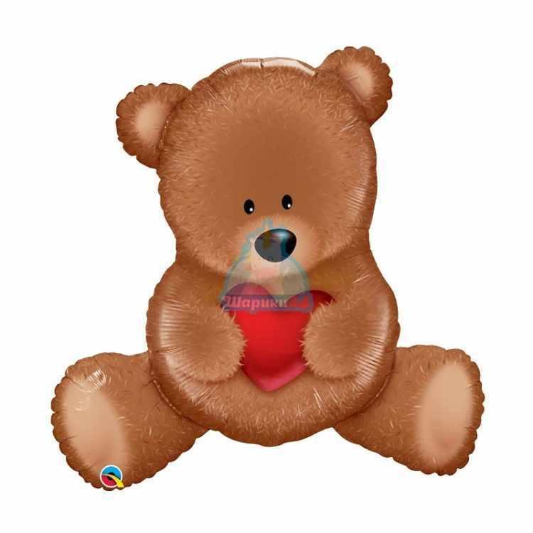 Фольгированная фигура медведь с сердцем