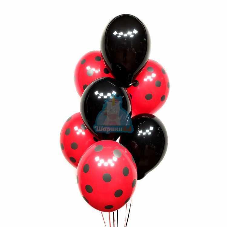 Облако черных и красных шариков в точку 25 шт