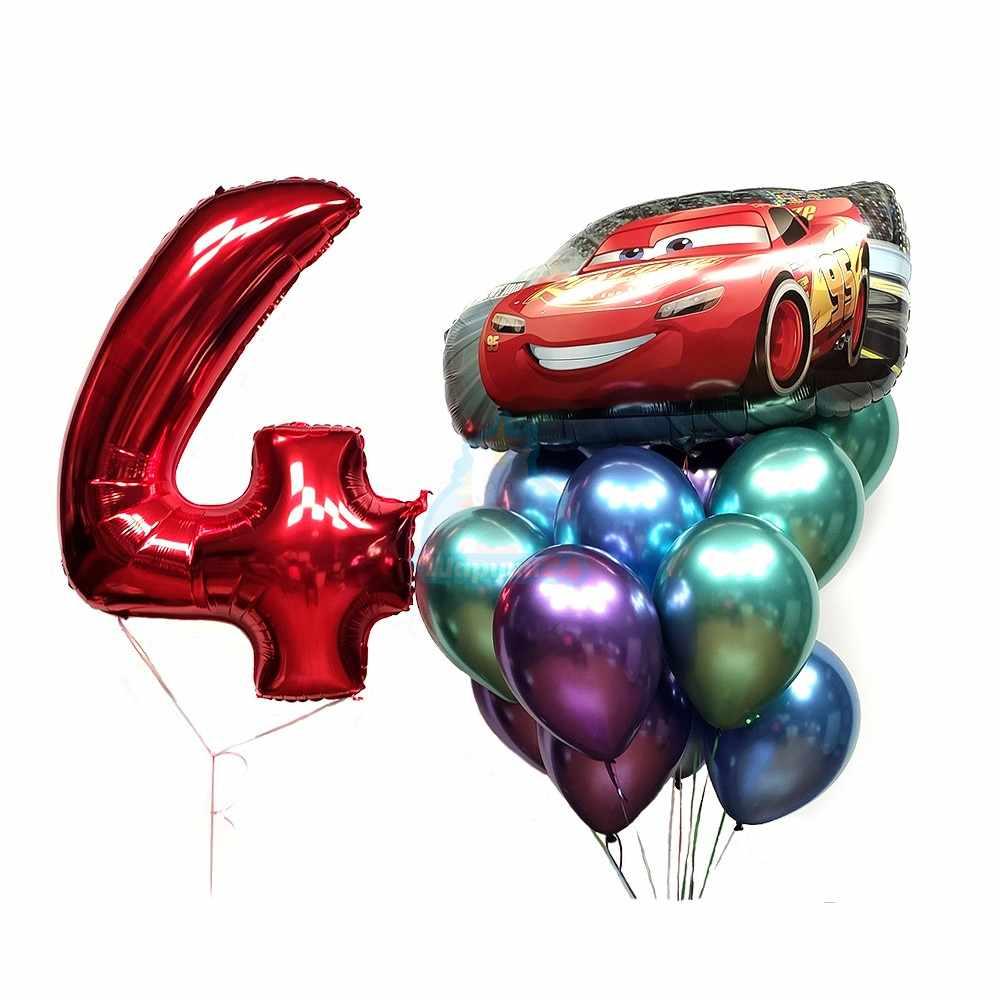 Композиция на день рождения из хромированных шаров с цифрой и машинкой