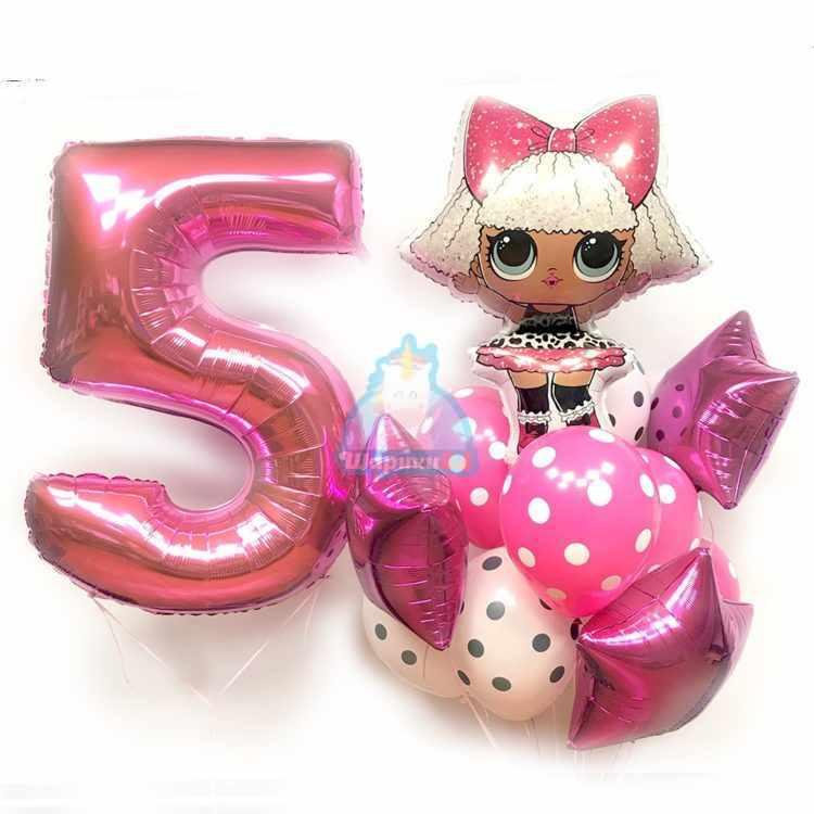 Композиция из шариков с куклой LOL и цифрой