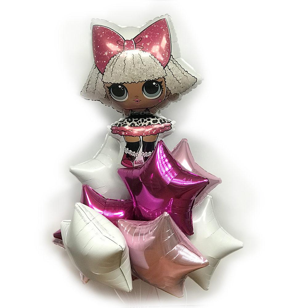 Композиция из шариков с куклой LOL и звездами