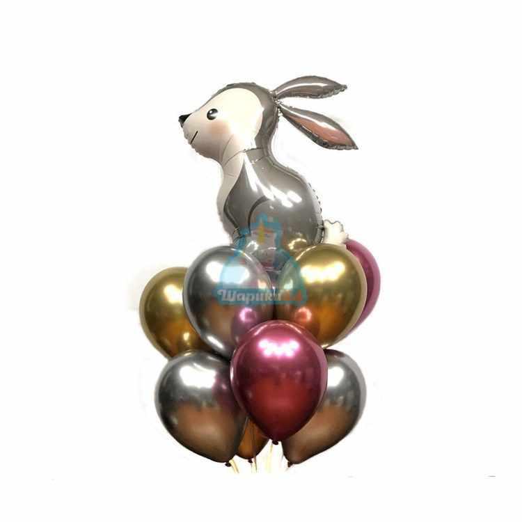 Композиция из гелиевых шаров хромированных с зайчиком