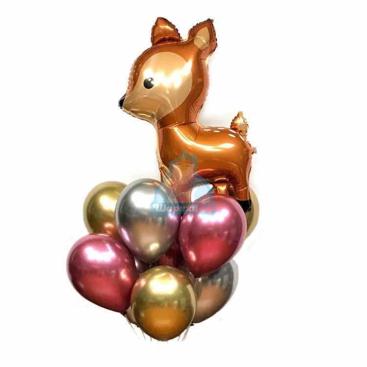 Композиция из хромированных шаров с олененком