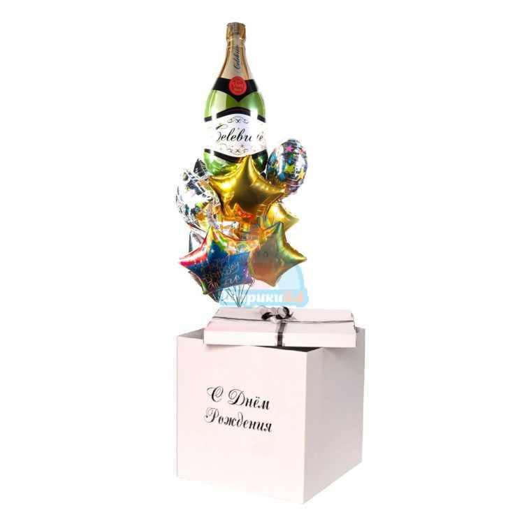Шарики День Рождения с шампанским и звездами в коробке