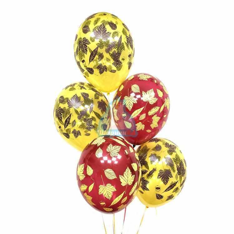 Желтые и красные шарики кленовые листья на 1 сентября