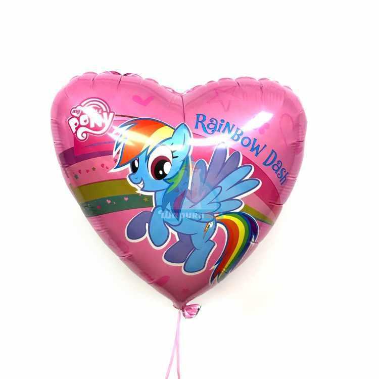 Фольгированное сердце My little pony розовое